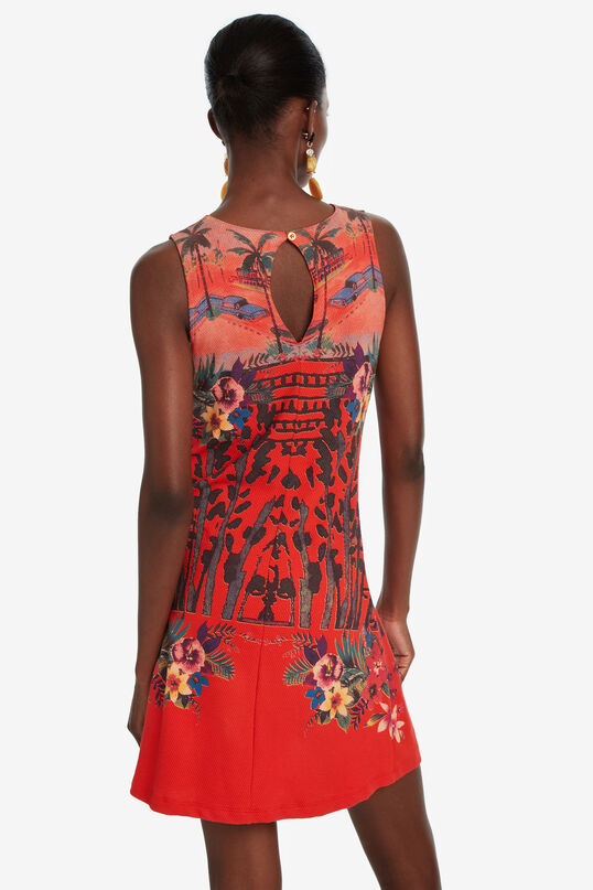 Rotes Slim-Kleid mit Tropenprint Anna | Desigual