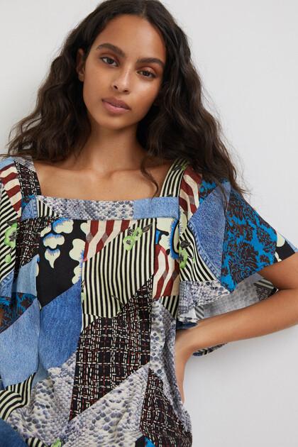 Denim & digital patch blouse