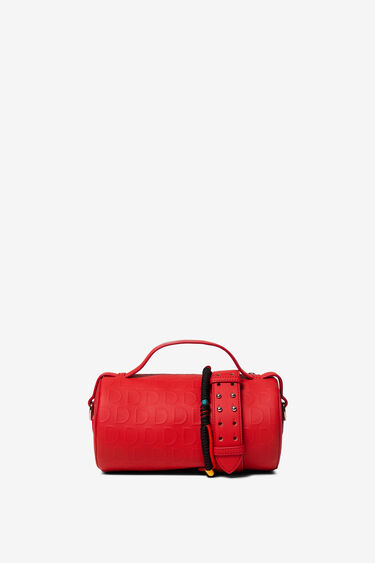 Red barrel bag in logomania | Desigual