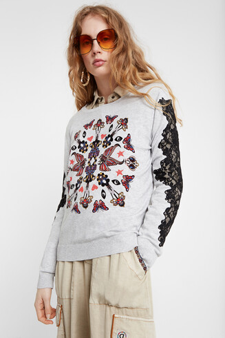Fine sweater floral mandala and lace