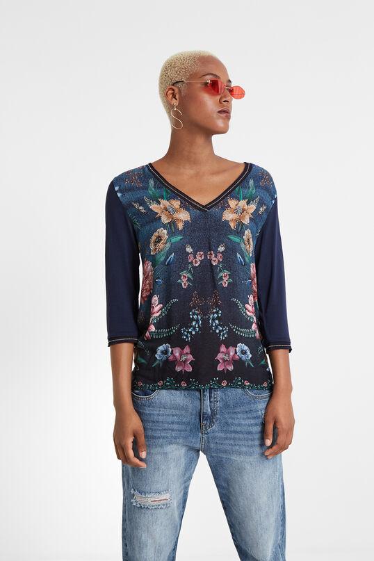 T-shirt boho col en V | Desigual