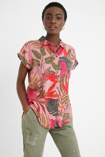 Tencel shirt tropical flowers
