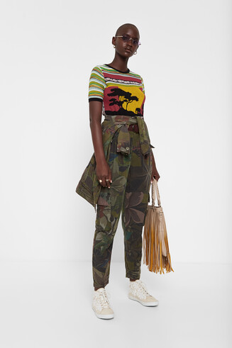 Floral paperbag and cargo trousers