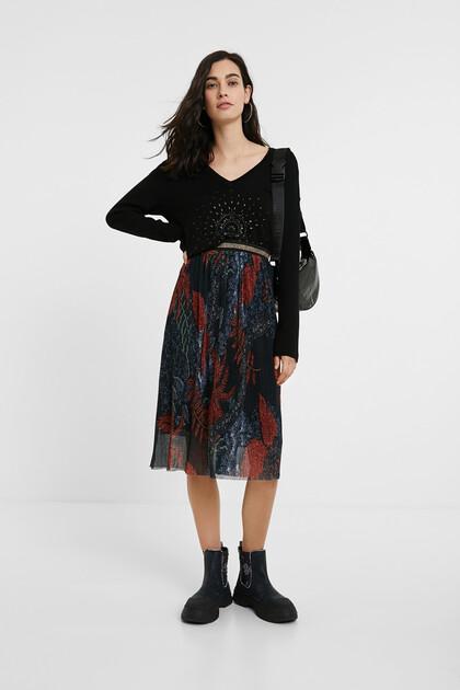 Floral pleated midi-skirt