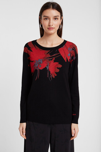 Viscose floral sweater
