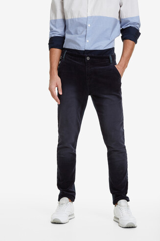 Jean cut bimaterial trousers