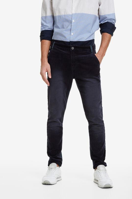 Jean cut bimaterial trousers | Desigual