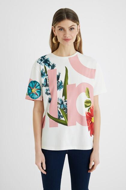 T-shirt flores 100% algodão