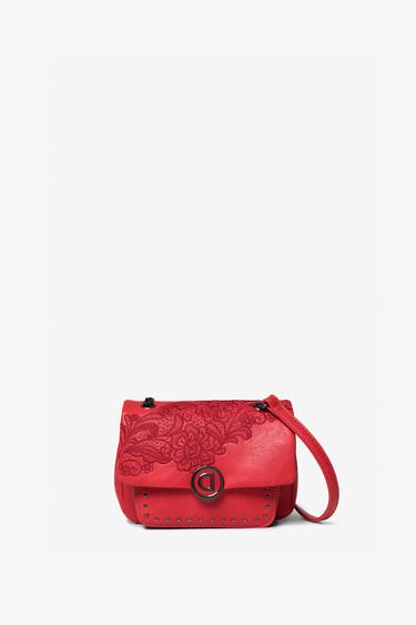 Sling bag embroidered flowers and chain | Desigual