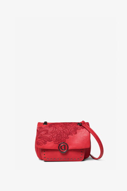 Sling bag embroidered flowers and chain
