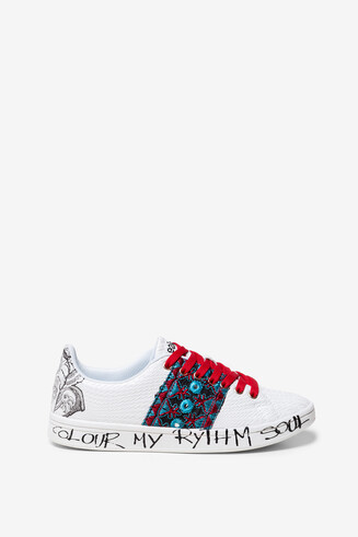 Sneakers with lettering and illustration