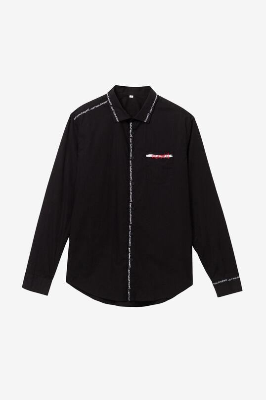 Camisa negra lettering costures | Desigual
