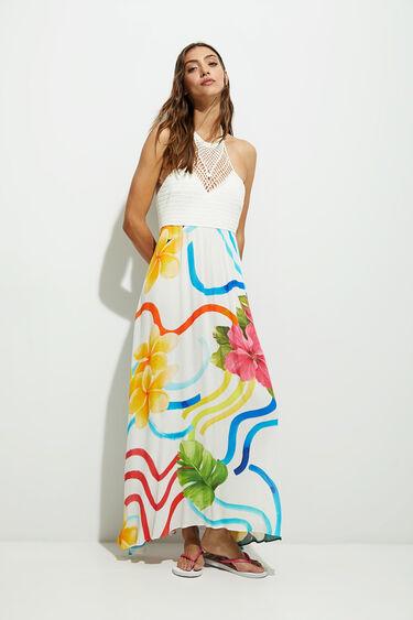 Long dress tricot flowers | Desigual
