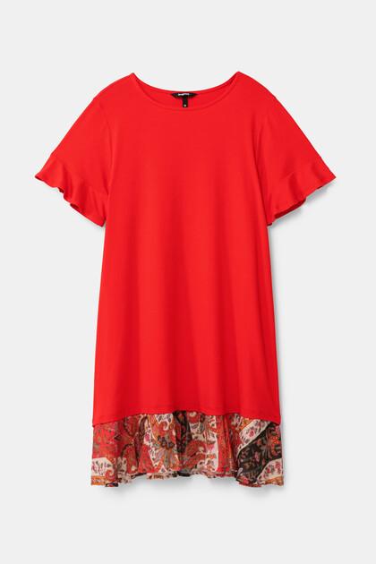 Flared T-shirt dress flounced hem