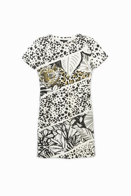 Short pinafore dress animal print