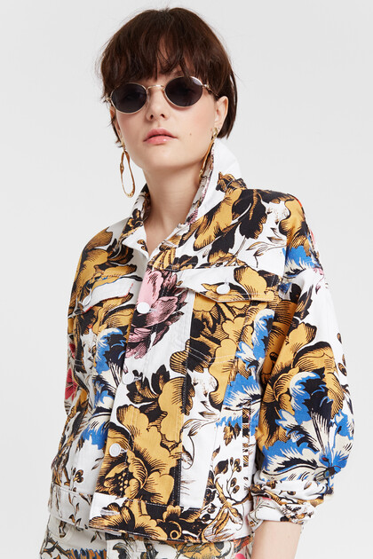 Jacket with Hawaiian floral print