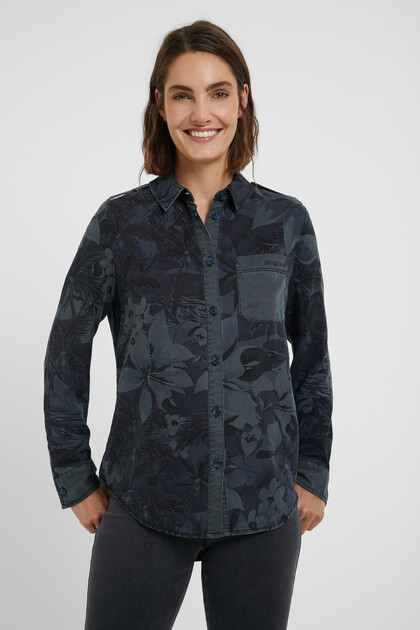 Long shirt camouflage flowers