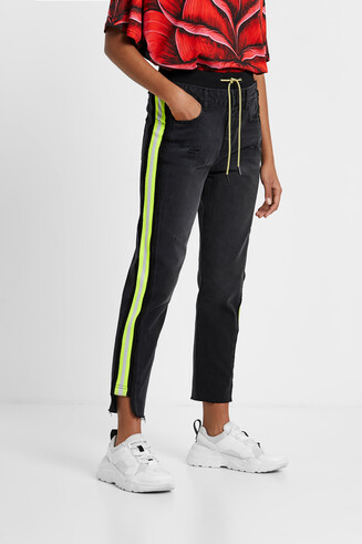 Hybrid denim sports trousers