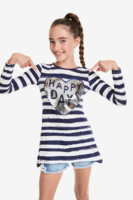 Reversible heart T-shirt Happy