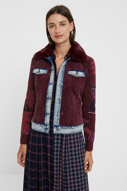 Fine corduroy jacket with removable collar