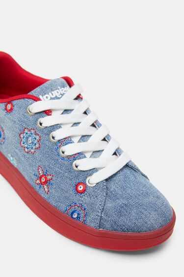 Denim sneakers met rode zool | Desigual