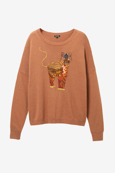 Viscose, wool and cashmere embroidered jumper | Desigual