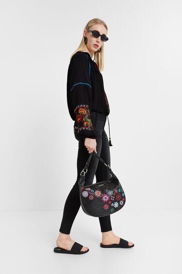 Camel half-moon bag embroidered mandalas | Desigual