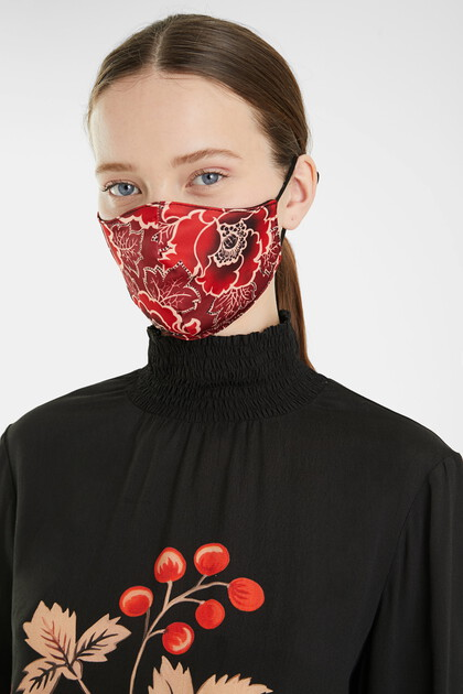 Floral face mask + pouch