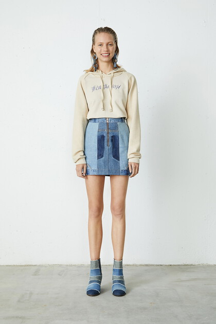 Upcycled denim mini-skirt