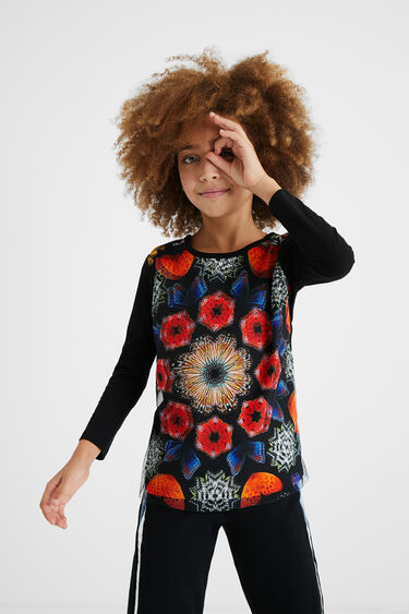 T-shirt with printed tulle | Desigual