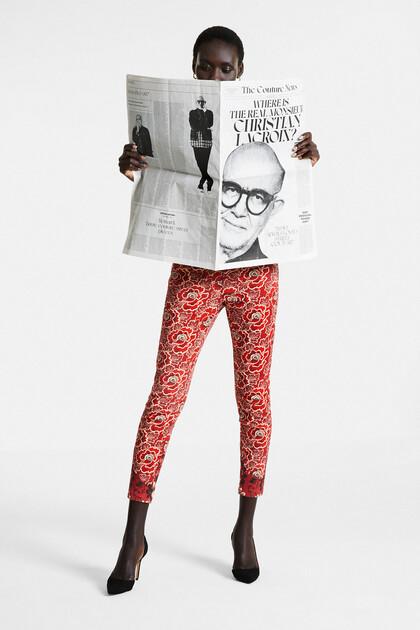 Blumige Skinny Jeans