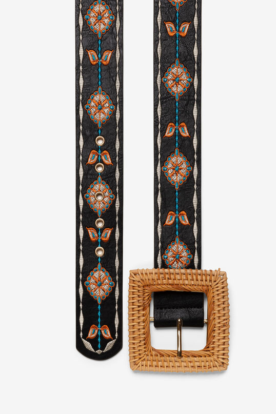 Cinturón con hebilla de ratán Straw | Desigual