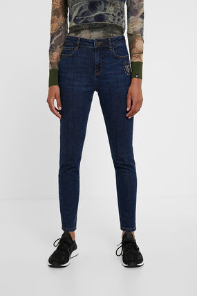 Jeans with heart embroidery