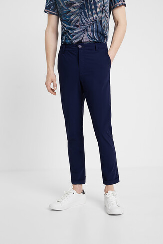 Blue technical fabric trousers