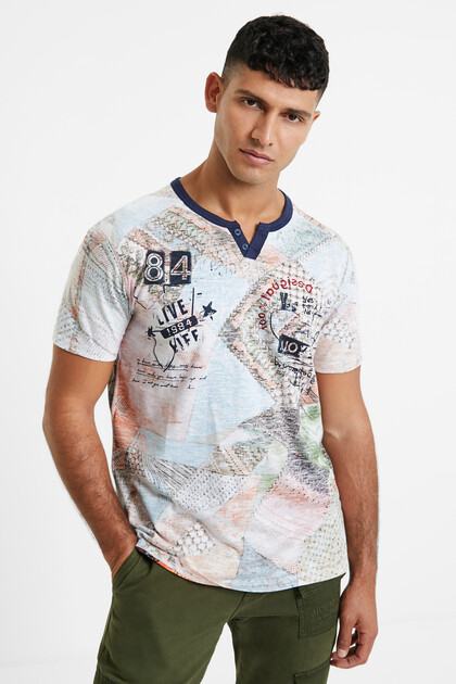 Patch print cotton T-shirt