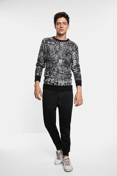 Sweter z dzianiny z nadrukiem typu bolimania | Desigual