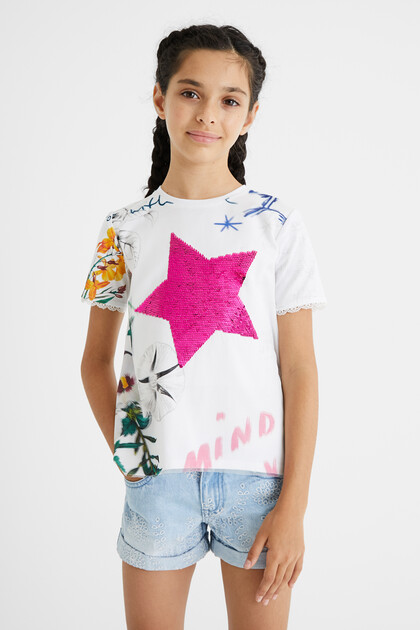 Printed T-shirt reversible sequins