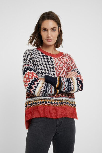 Chunky knit patch jumper
