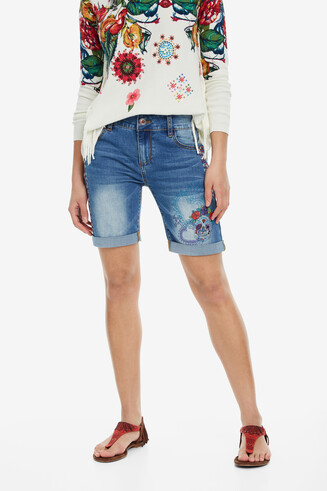 Skull Denim Shorts Catrina