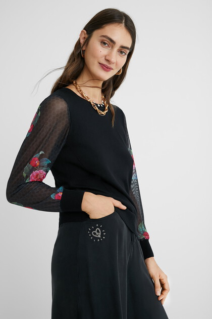 Jumper transparent sleeves flowers