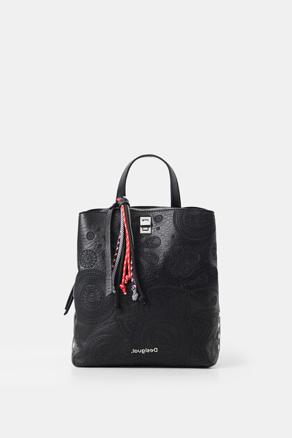 Small leather effect backpack