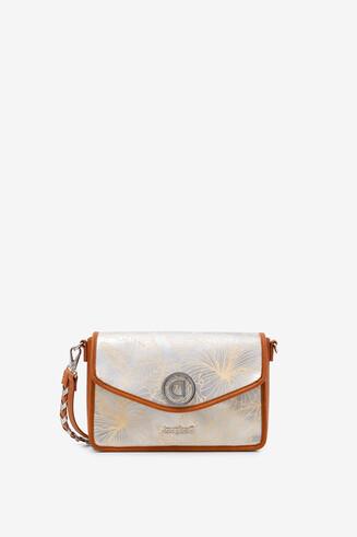 Silver floral sling bag