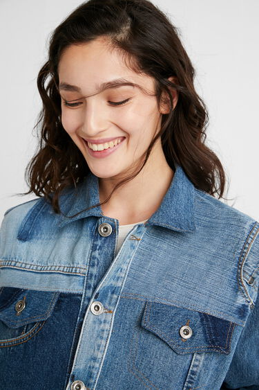 Upcycled patch denim jacket   Desigual