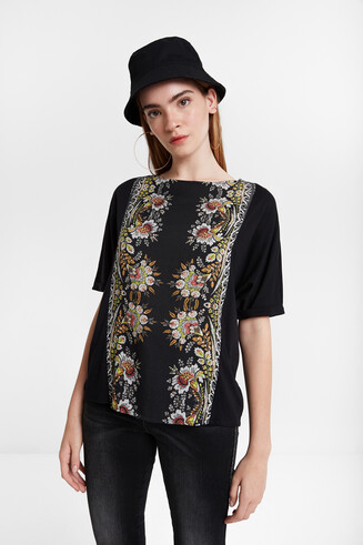 Cotton modal blend floral band T-shirt Designed by M. Christian Lacroix