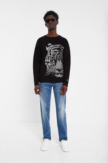 Ribbed jumper with tiger print | Desigual