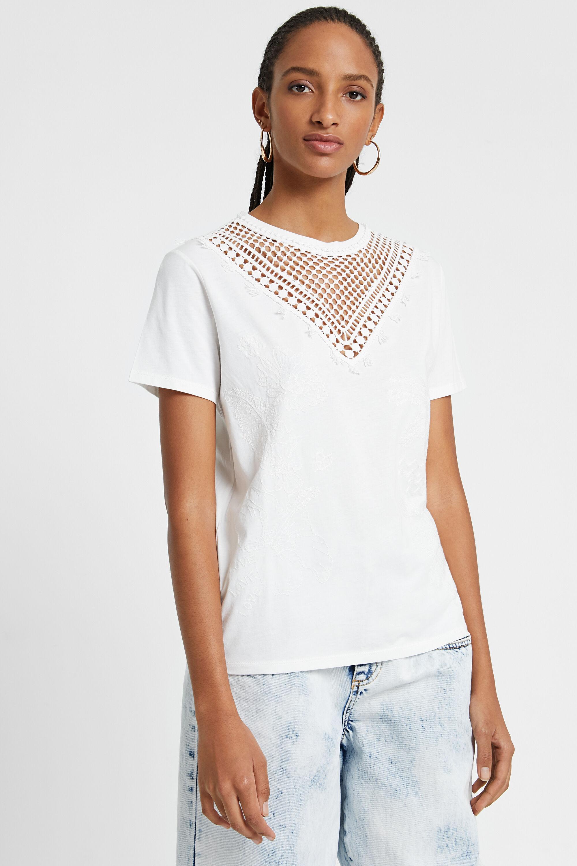 Maglietta floreale con rete in maglia | Desigual