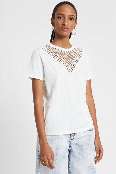 T-shirt bordure pointe frontale | Desigual