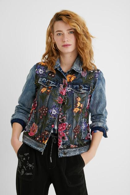 Jeansjacke im Slim Fit mit Blumen