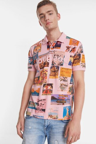 Polo shirt with Vintage post card