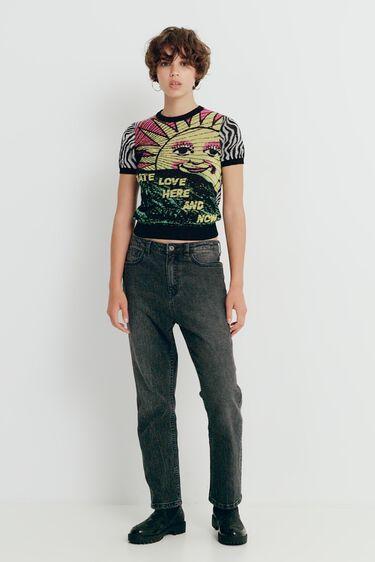 Gebreid T-shirt met zebraprint | Desigual